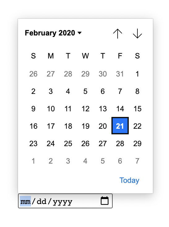 The redesigned input type date element. It has large buttons and easy to click dates.