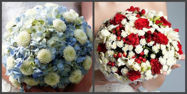 Букеты невесты из хризантем