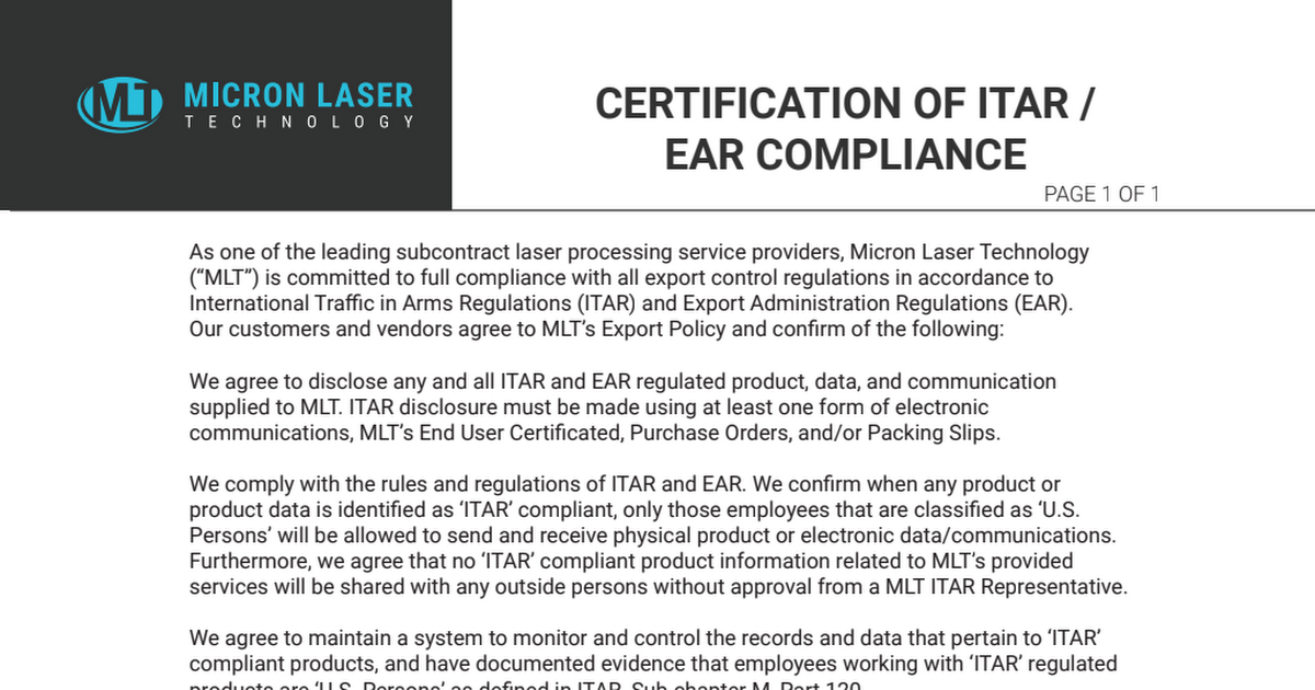 Certification Of Itar Ear Compliance Pdf Google Drive