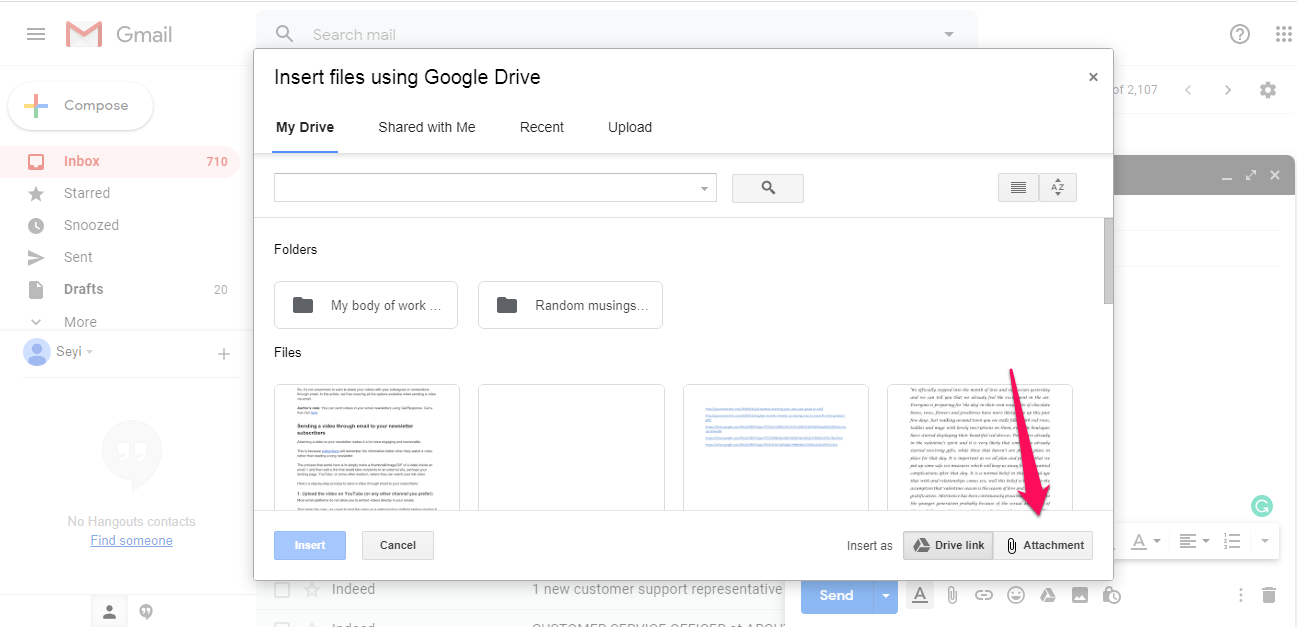 Sending a video via Gmail as a Google Drive attachment.