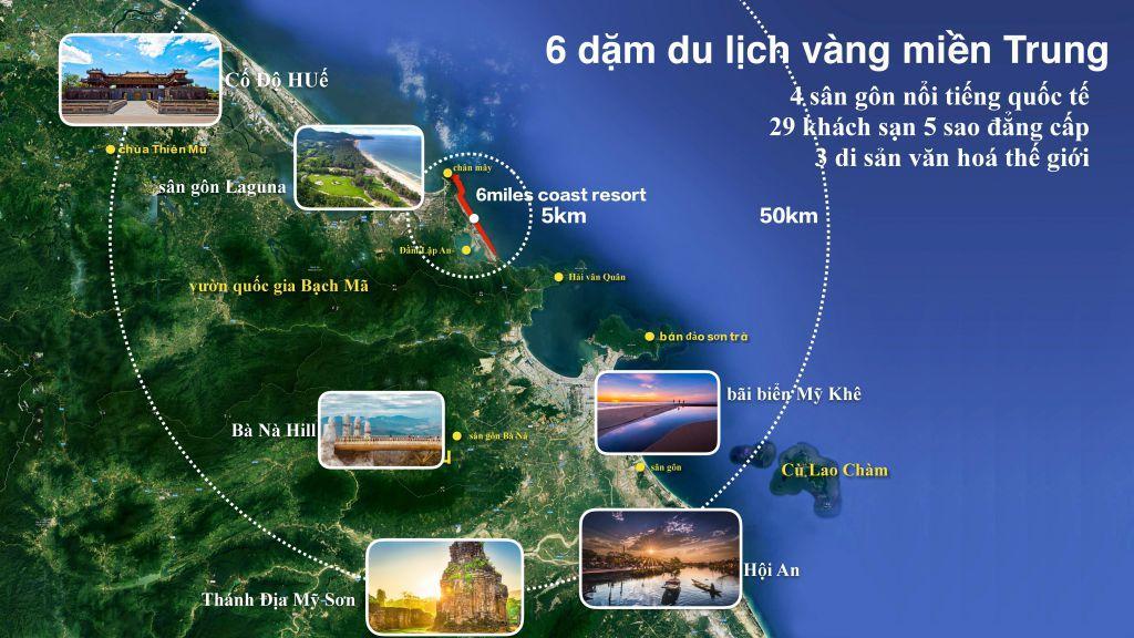 vị trí dự án 6 miles coast resort lăng cô