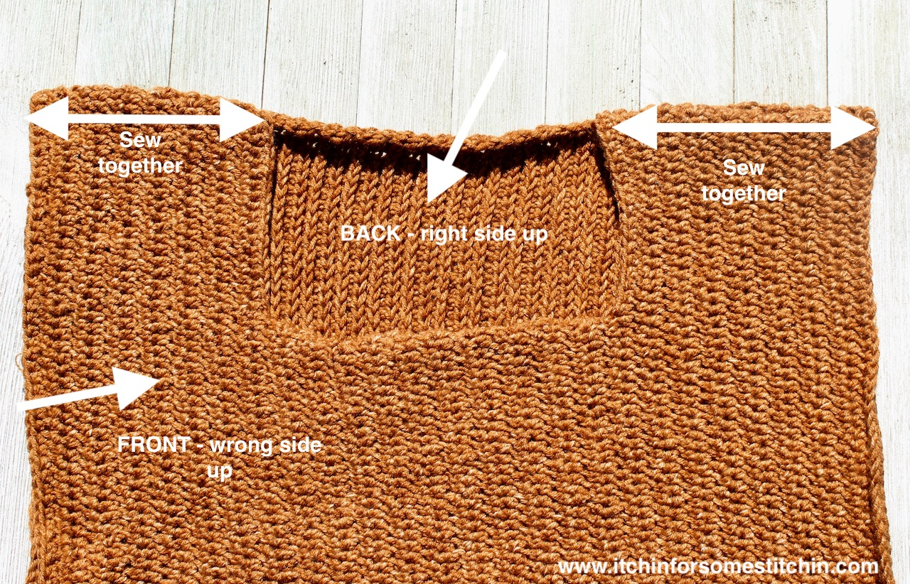 Seaming together the Beginner Crochet sweater by www.itchinforsomestitchin.com