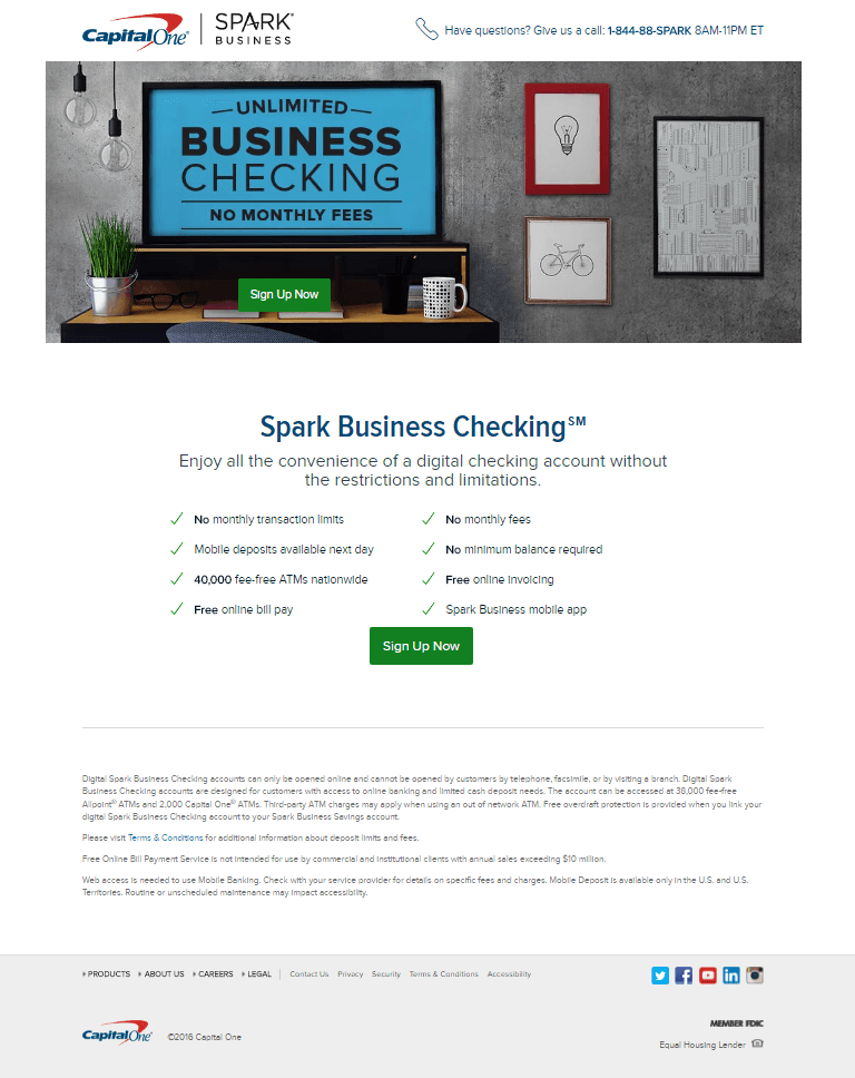 Great landing pages Capital One