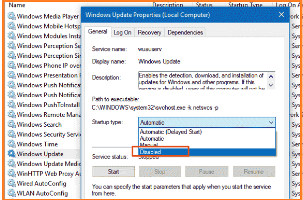Disable Windows Automatic Updates with the Help of Services.msc