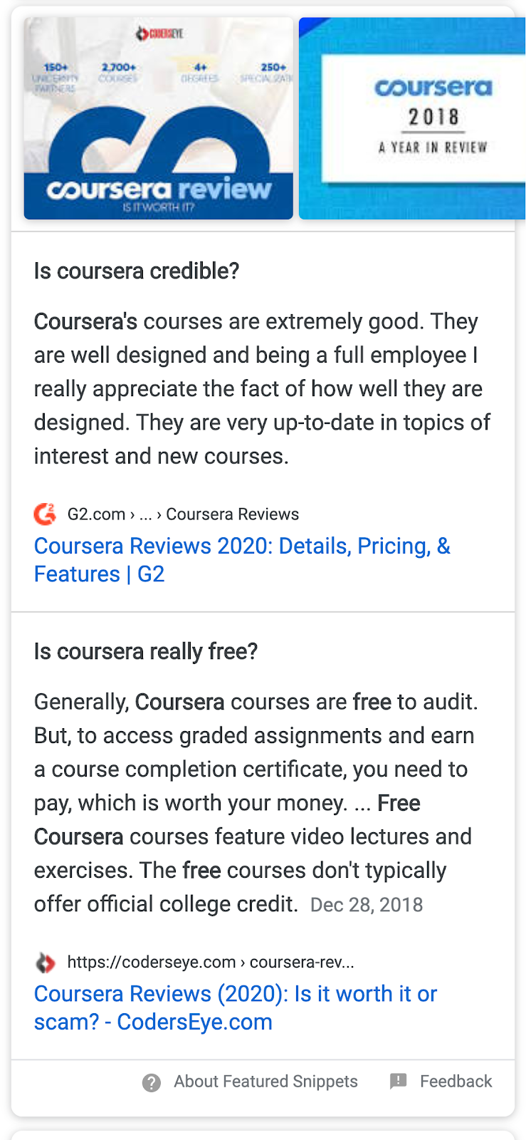 "Google mobile search results for ""coursera review"""