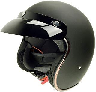 EFCascos : Maquina de casco de moto, Harley Davidson half Helmet con hombres y mujeres verano Bubble espejo, Black XL