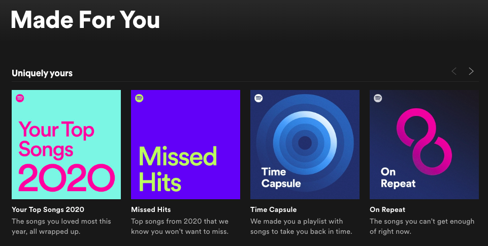 hyper-personalization Screenshot from Spotify