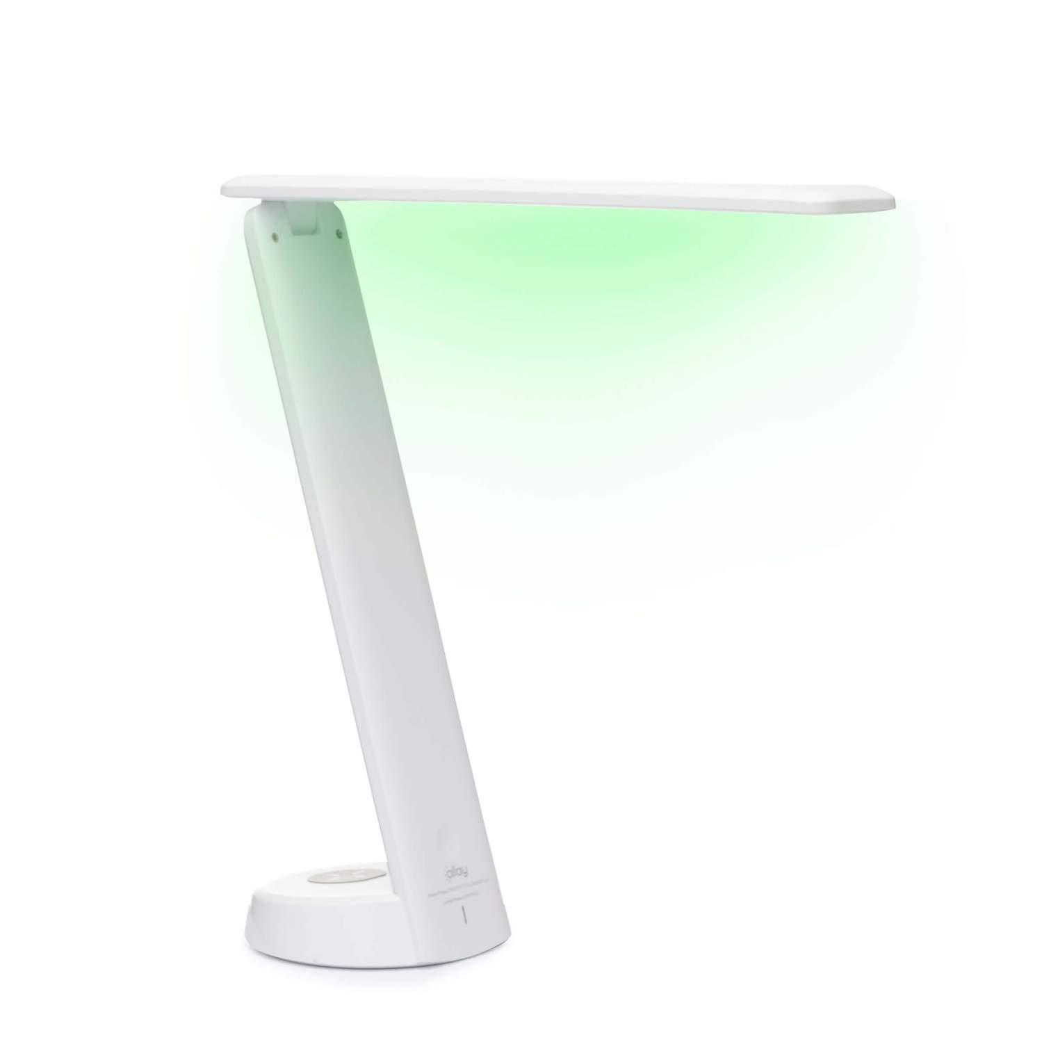 Photo of the Allay Desk Light emitting bright green light
