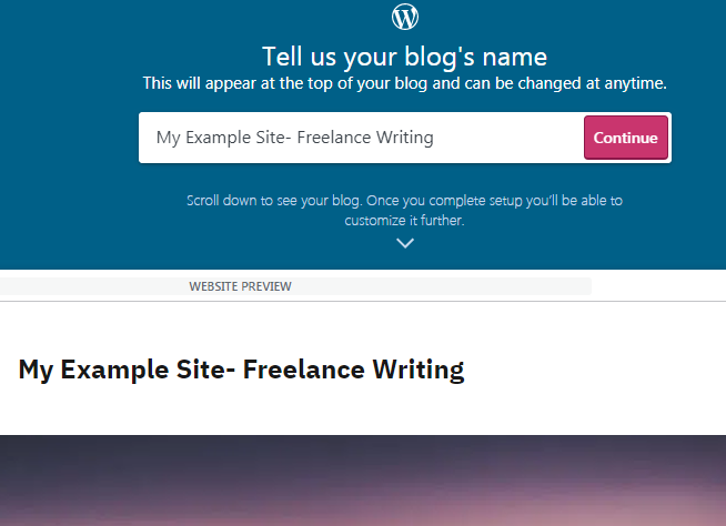 how to create a free wordpress site for your freelance seo writing website - step 3 (choosing a name)