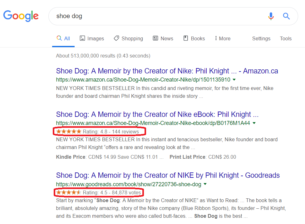 "On-page SEO: A Google search for the book ""Shoe Dog"" with reviews under each result"
