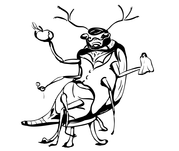 sketch of the beetle, apple, scarf, sketch, doodle, drawing, bug, cartoon