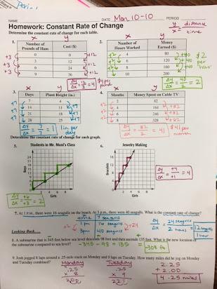 Homework practice constant rate of change