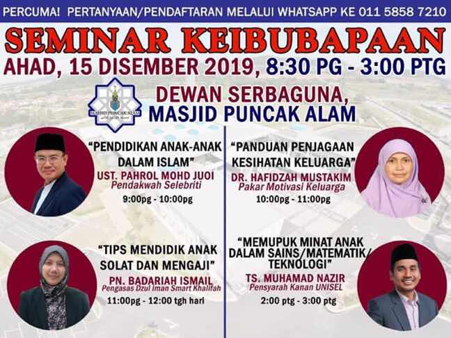 Seminar keibubapaan Masjid Puncak Alam Pahrol Mohamad Juoi
