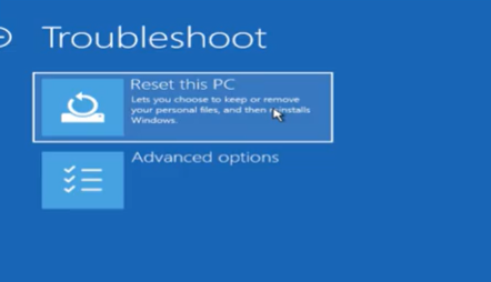 click on reset this PC option