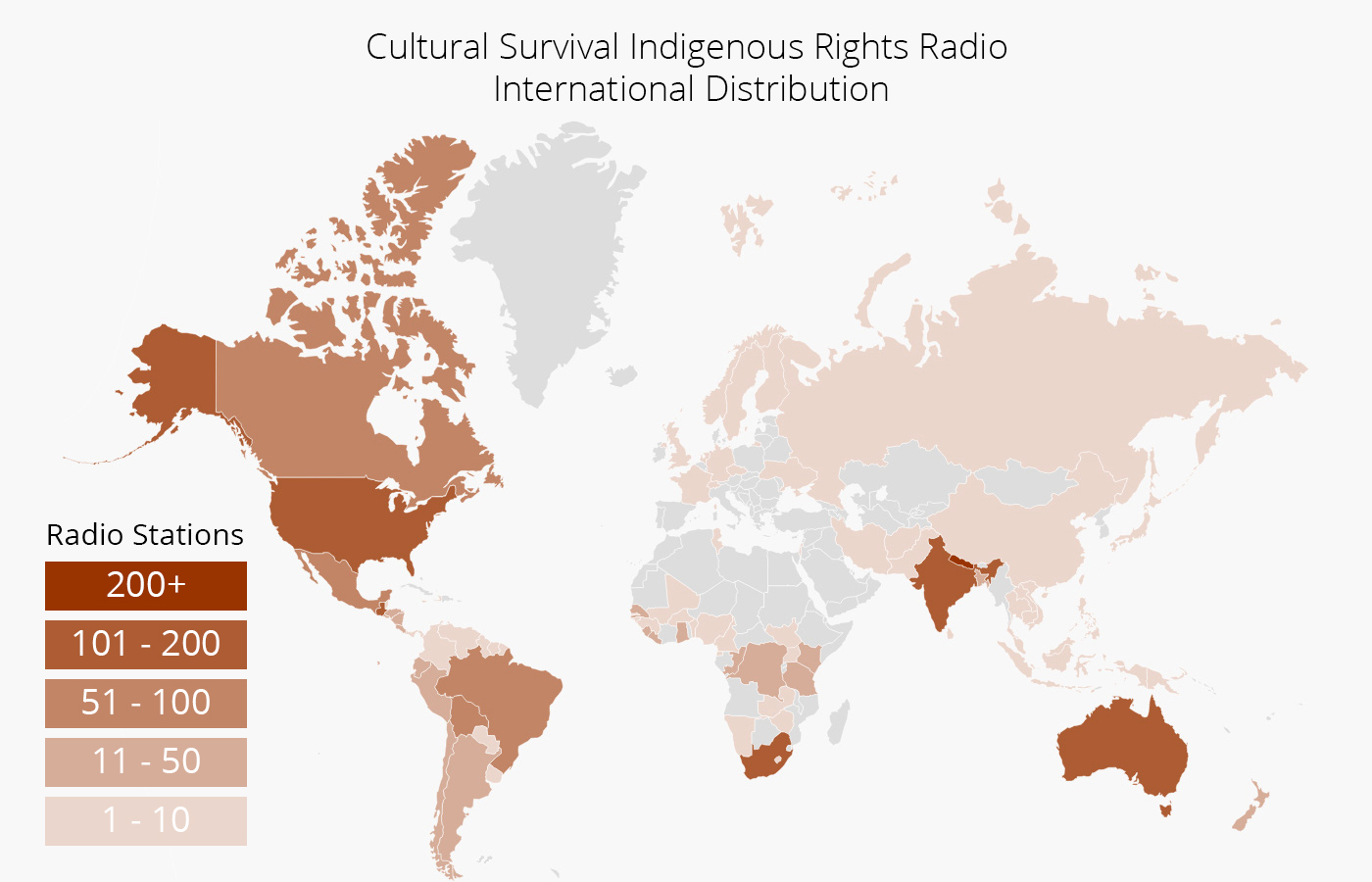 World map depicting the distribution of Cultural Survival's Indigenous Rights Radio programs around the globe. Areas such as the United States, Australia, India, South Africa, and parts of South America are highlighted as having the most radio stations.