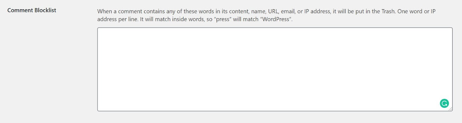 Screenshot showing how to edit the comments blacklist section of WordPress