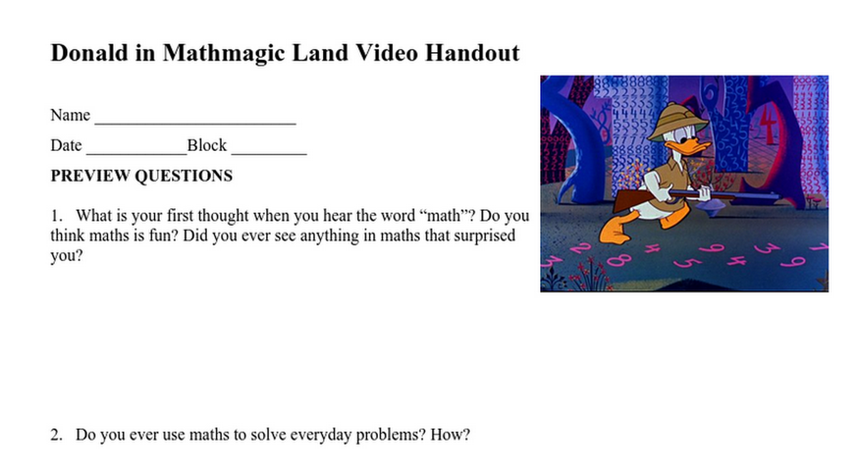 Donald duck in mathmagic land video worksheet answers