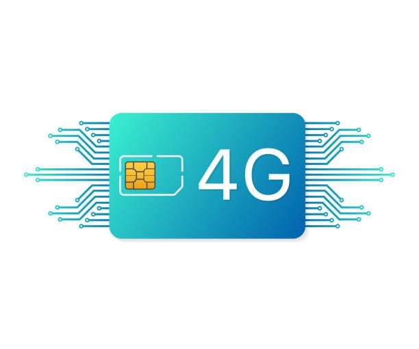 4G Sim Card. Mobile telecommunications technology symbol. Vector illustration. 4G Sim Card. Mobile telecommunications technology symbol. Vector stock illustration. sim plans stock illustrations