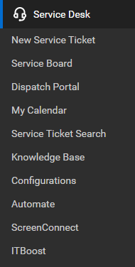ConnectWise Manage Service Desk menu and submenu showing features of the module