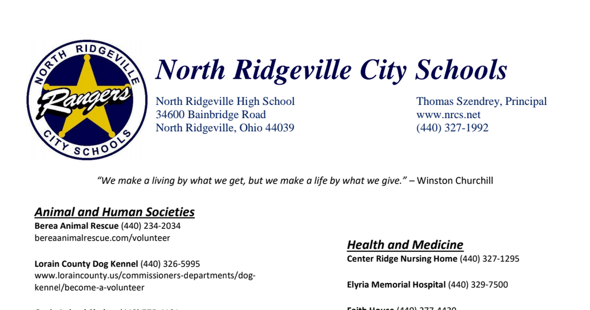 community service places to volunteer sheet pdf - Google Drive