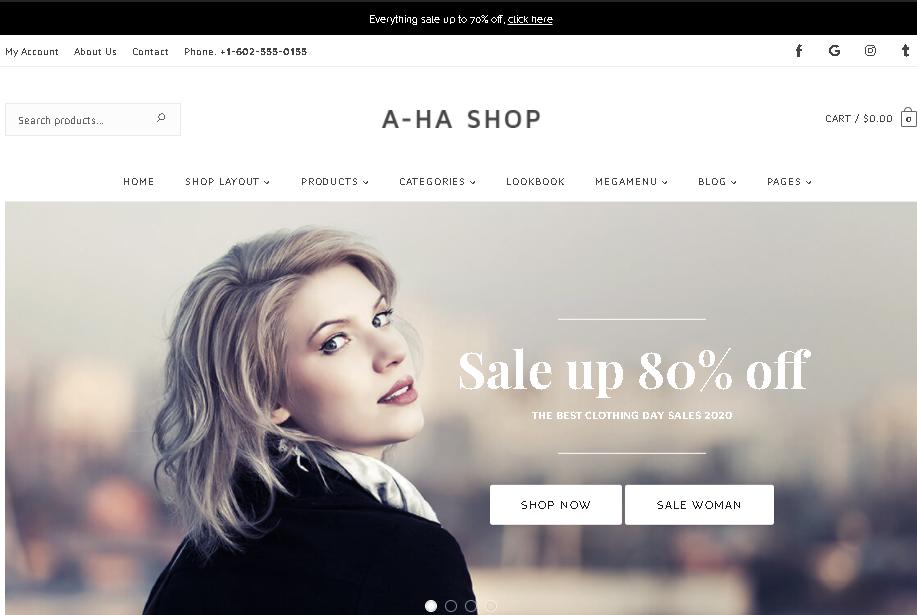 Wordpress ecommerce theme AhaShop