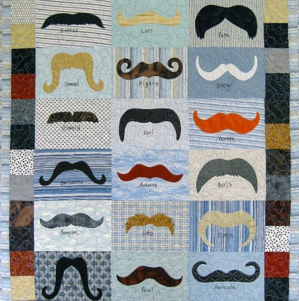 Quilt Featuring Various Mustaches