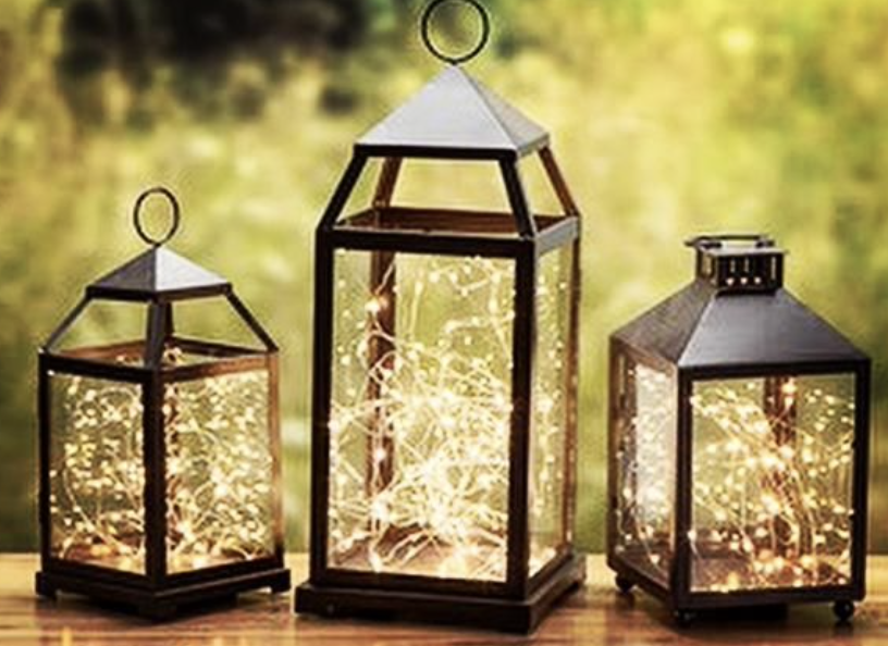 twinkly lights in lanterns
