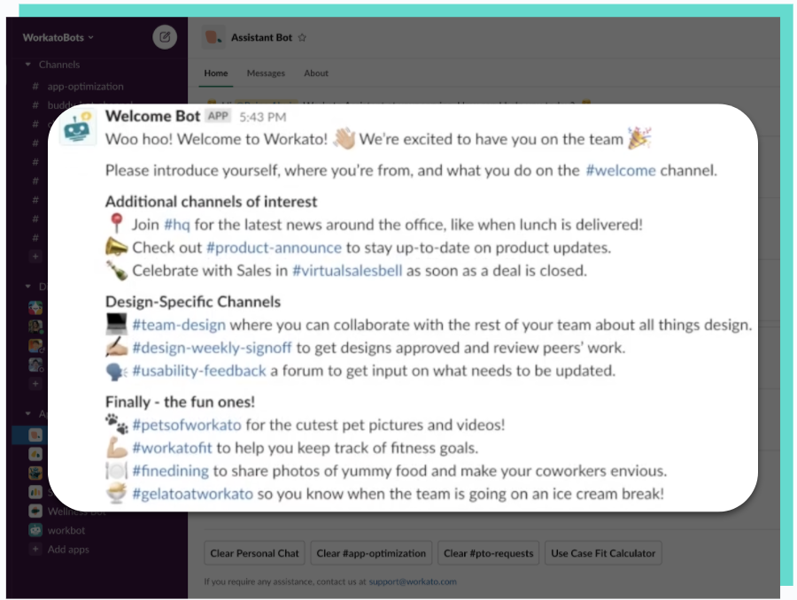 A Slack message from Welcome Bot that's sent on an employee's first day
