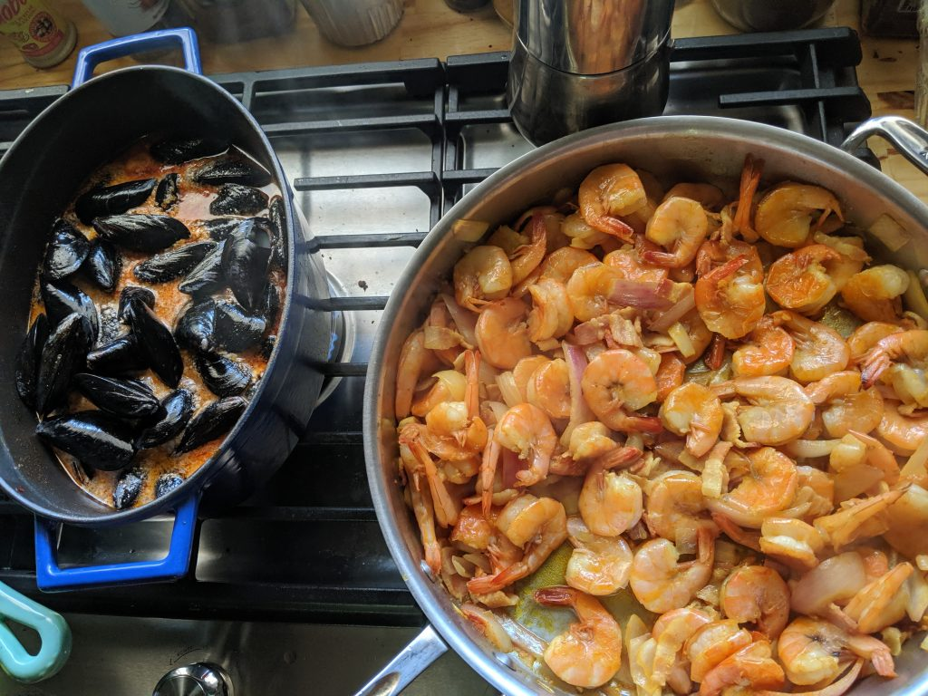 shrimp and mussels during keto boot camp