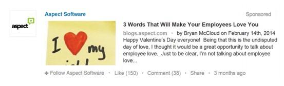 Best LinkedIn Sponsored Content Example