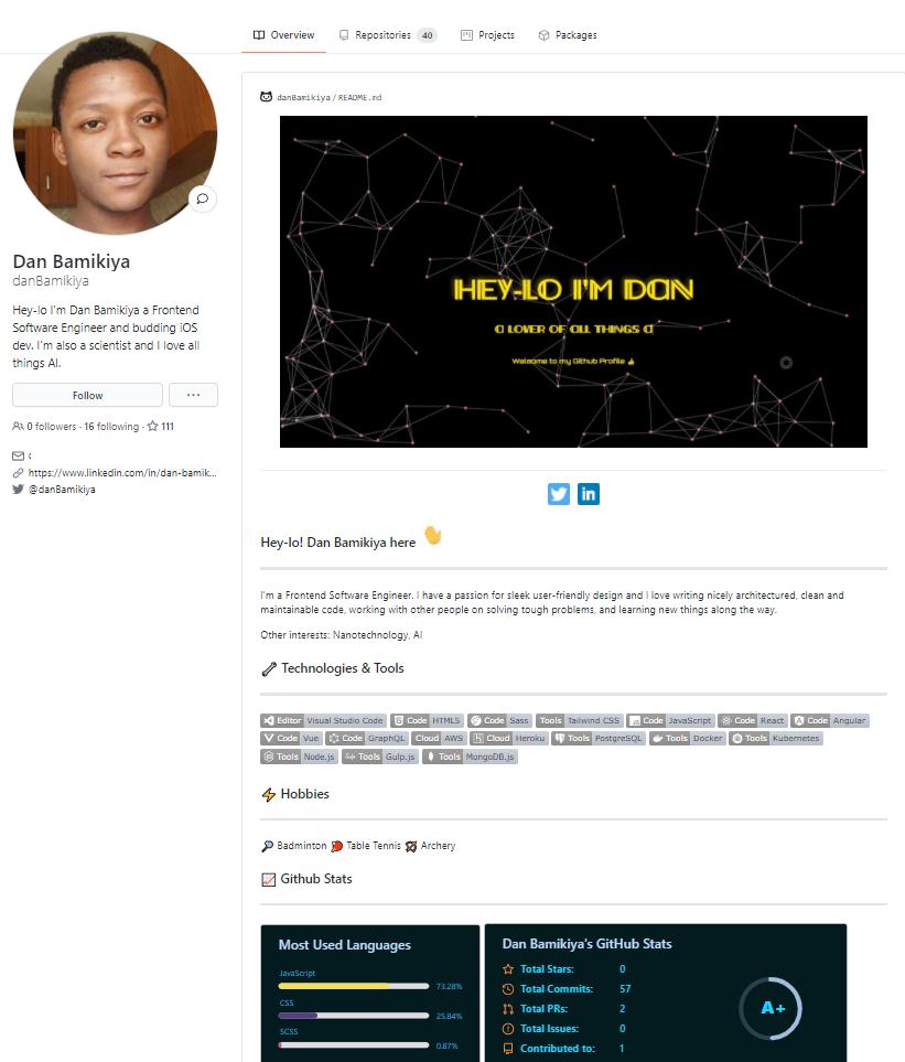 Perfil GitHub de Dan Bamikya