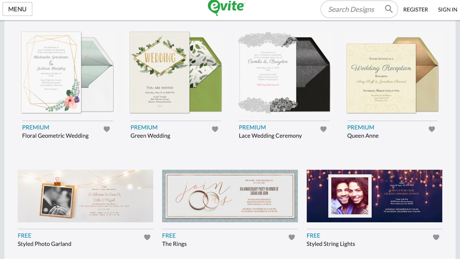 Photo of Evite wedding invitation card templates