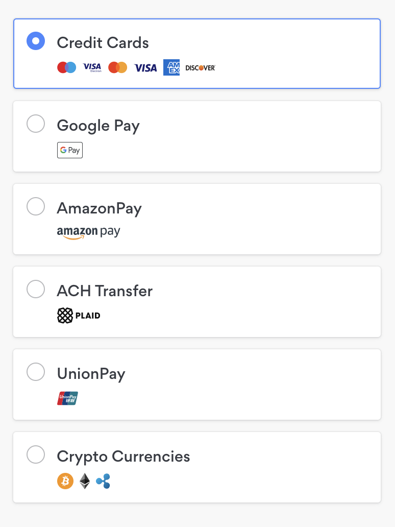 List of payment methods