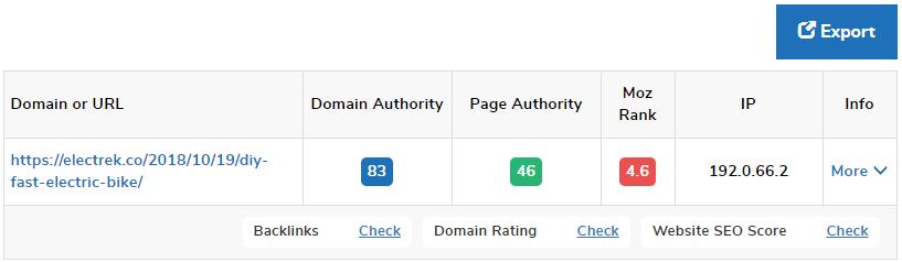 ドメインやサイトの権威性をチェックできるスモールSEOのインターフェイス