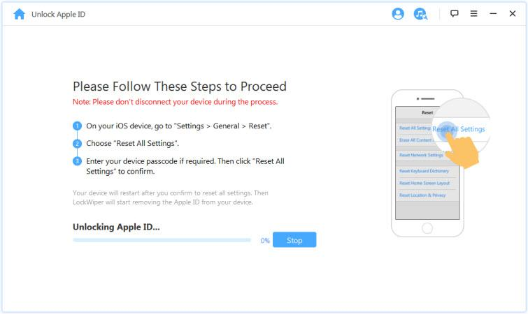 follow the instructions to remove apple id of locked iPad