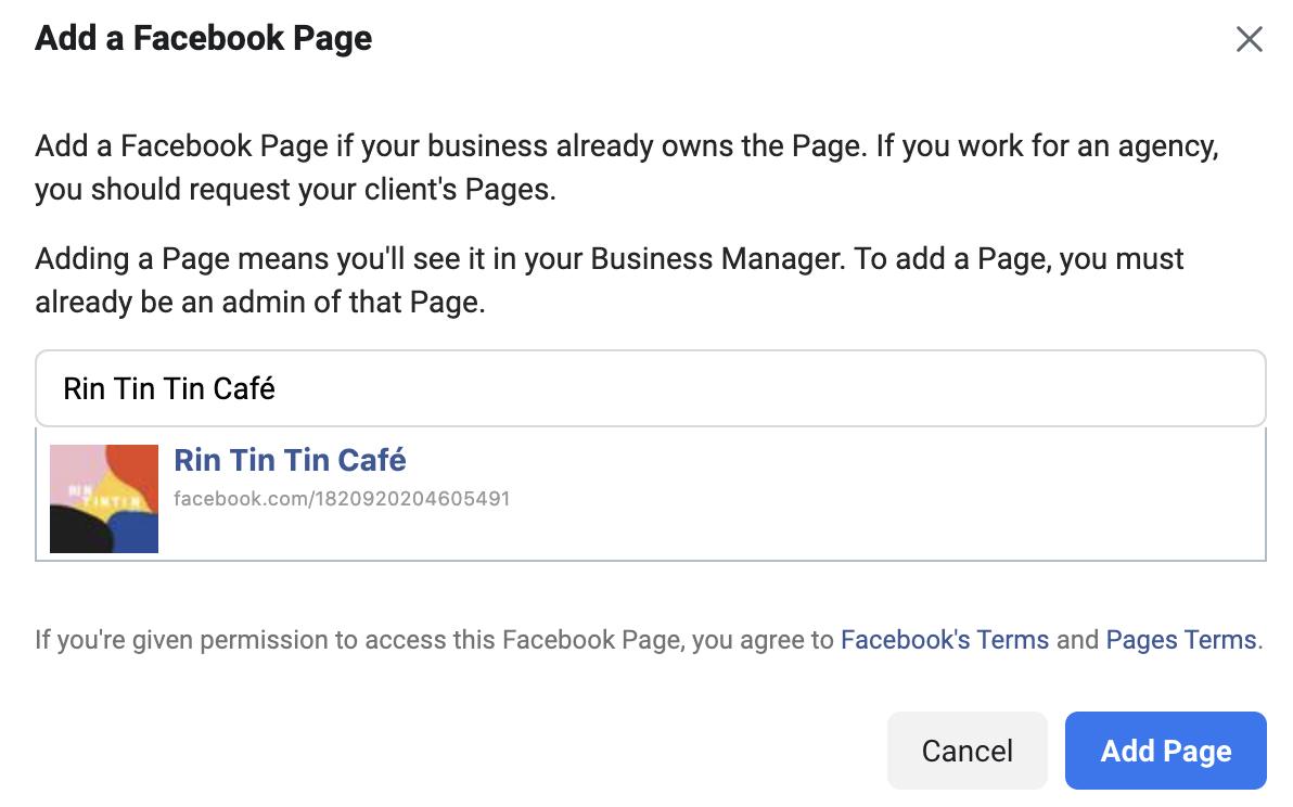 Adding a facebook page