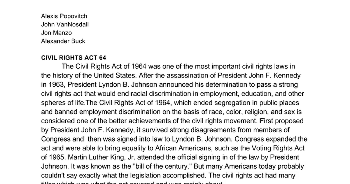 an introduction to the history of the civil rights act in 1964 Kids learn about the history of the civil rights act of 1964 including the background and work by leaders such as president john f kennedy, president lyndon johnson, and martin luther king, jr.