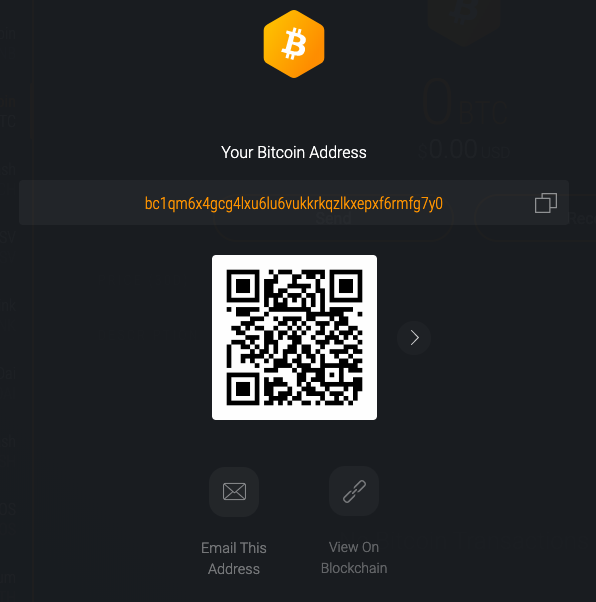 Interface of the Exodus wallet to receive your cryptocurrencies. Here, Bitcoin.
