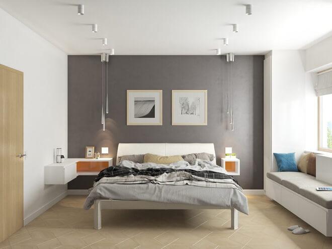 Phòng ngủ màu xám trắng 1