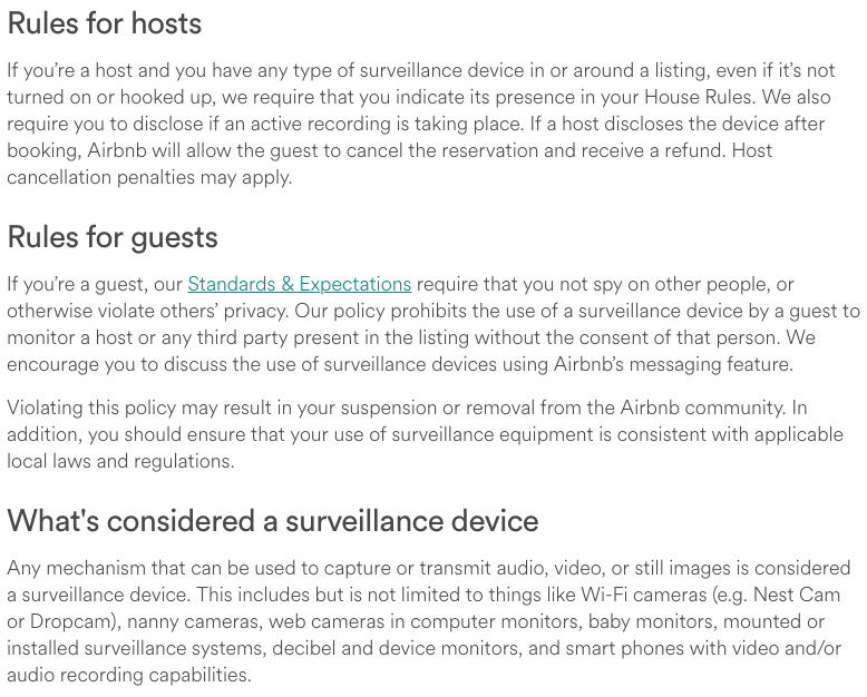 Airbnb's New Surveillance & Security Camera Policy