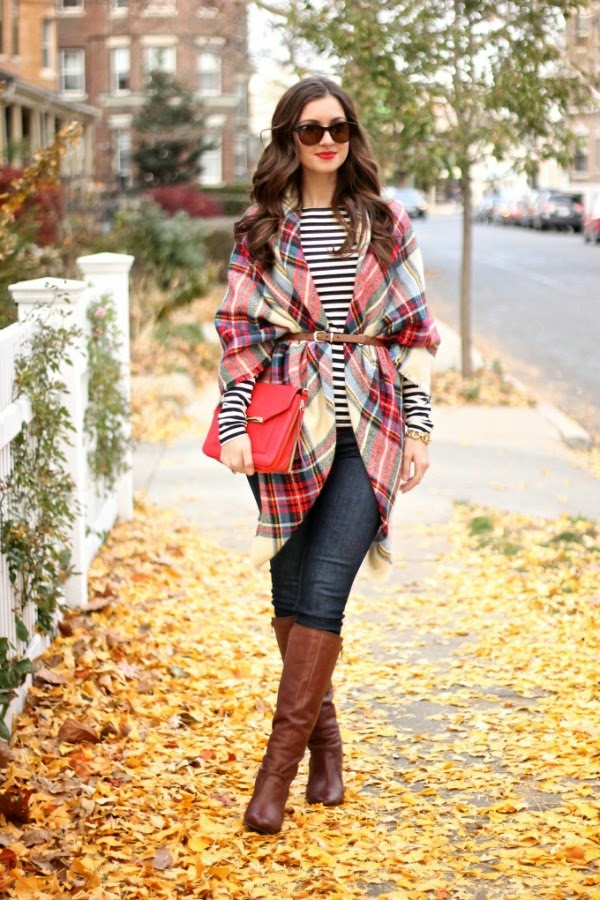 how to wear a blanket scarf belted