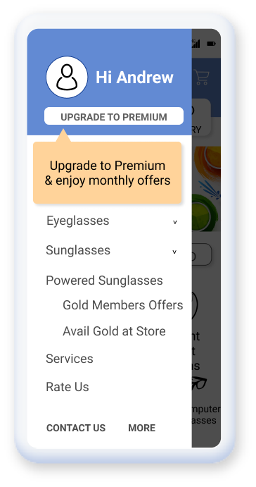 A mobile application which nudges the users to become premium members