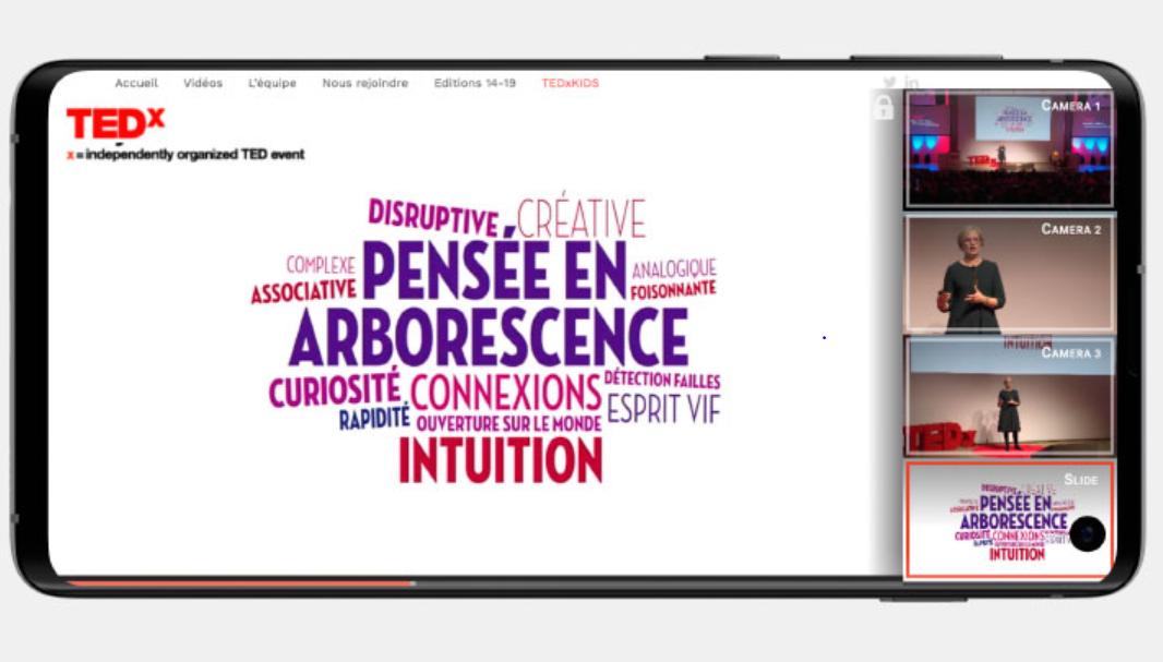 Image représentant la solution multiangles Omnilive avec la rediffusion du live streaming d'une conférence TEDx