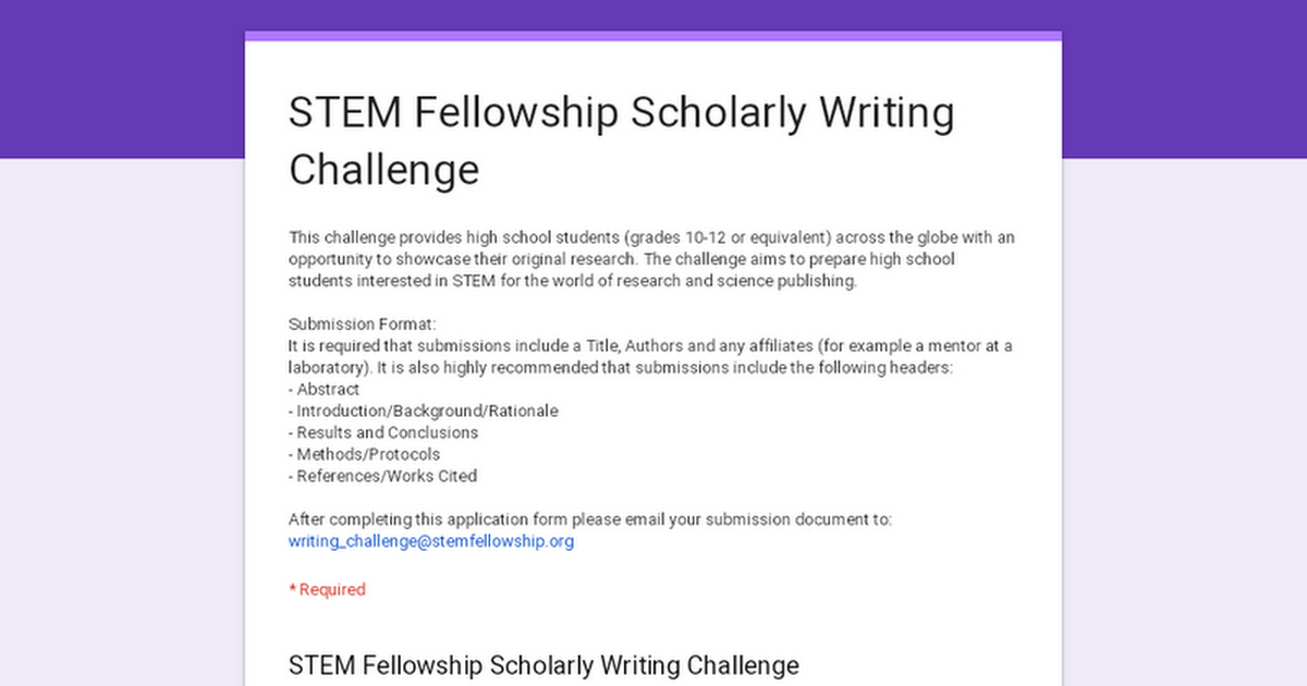 STEM Fellowship Scholarly Writing Challenge