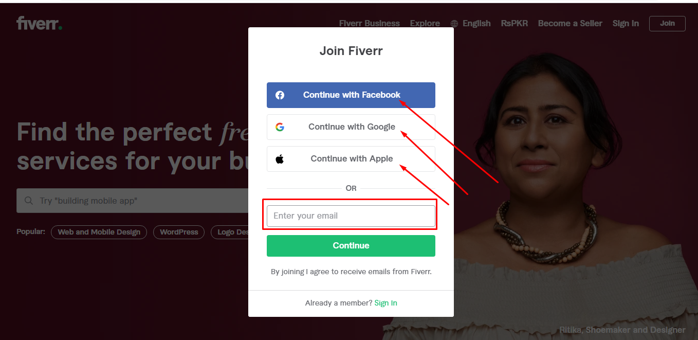 Social sign-in for freelancers joining Fiverr
