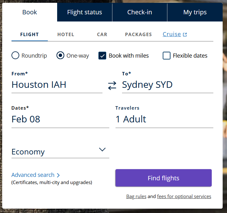 Booking an award trip with United miles