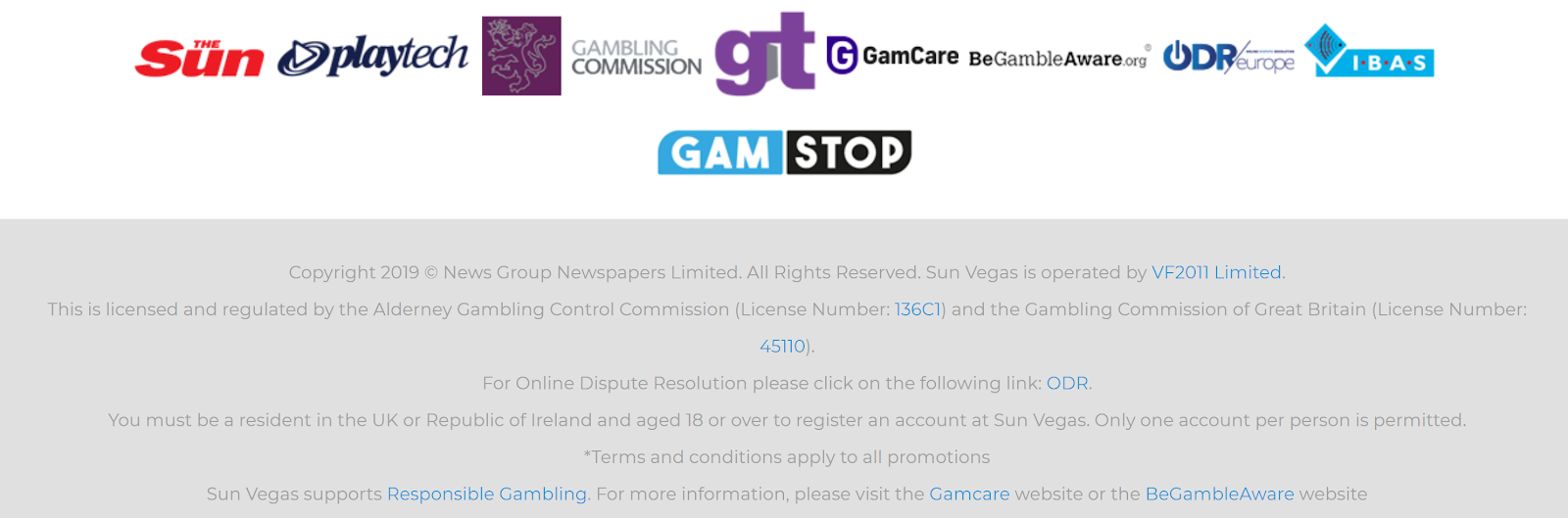 The Sun Vegas Casino is regulated by the UK Gambling Commission