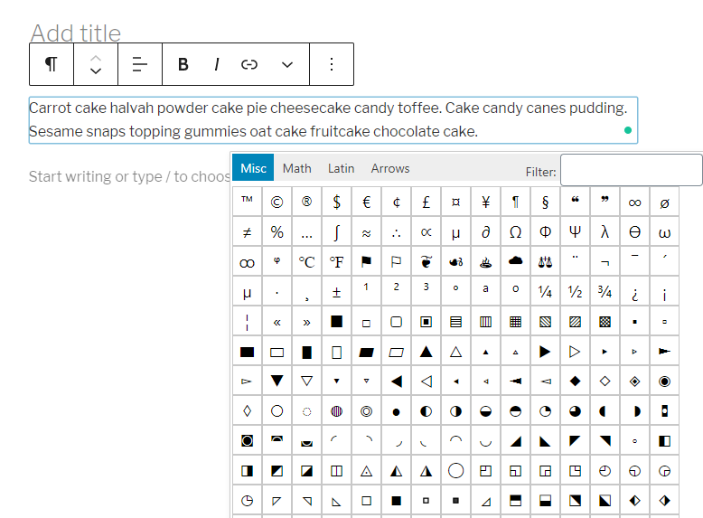 List of hundreds of special characters available in WordPress plugin