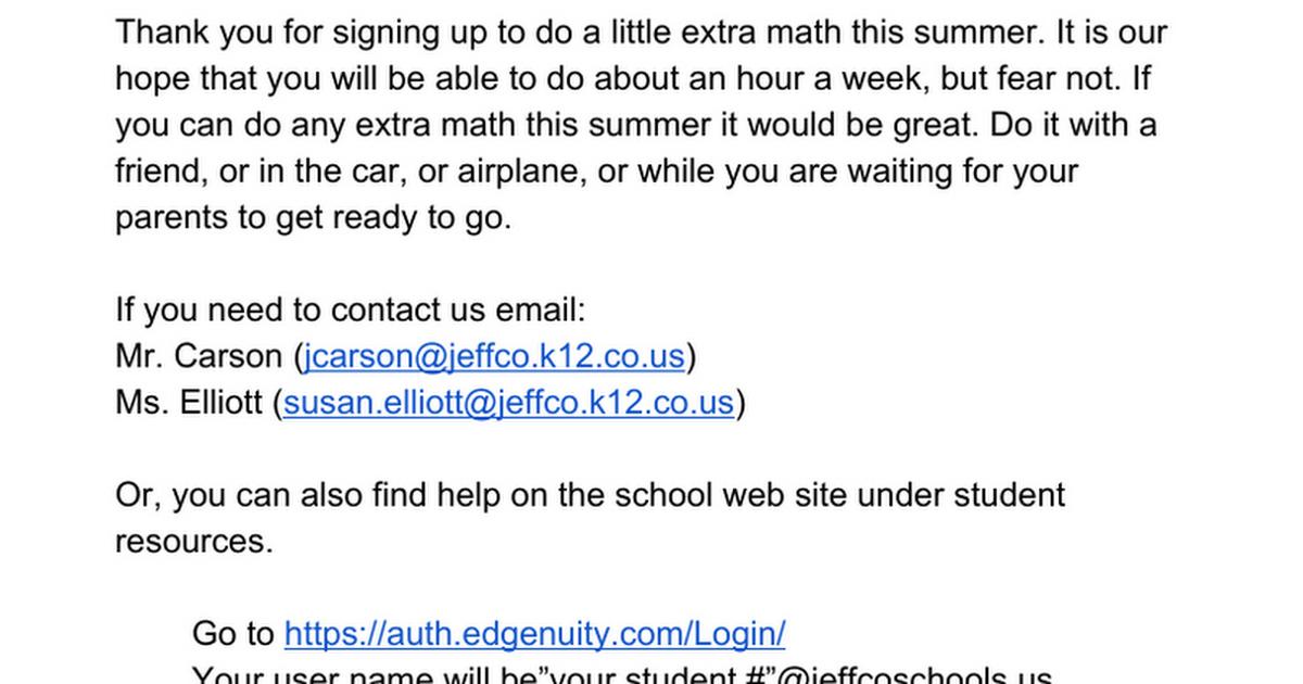 Carmody Summer Math 2018 Letter Google Docs