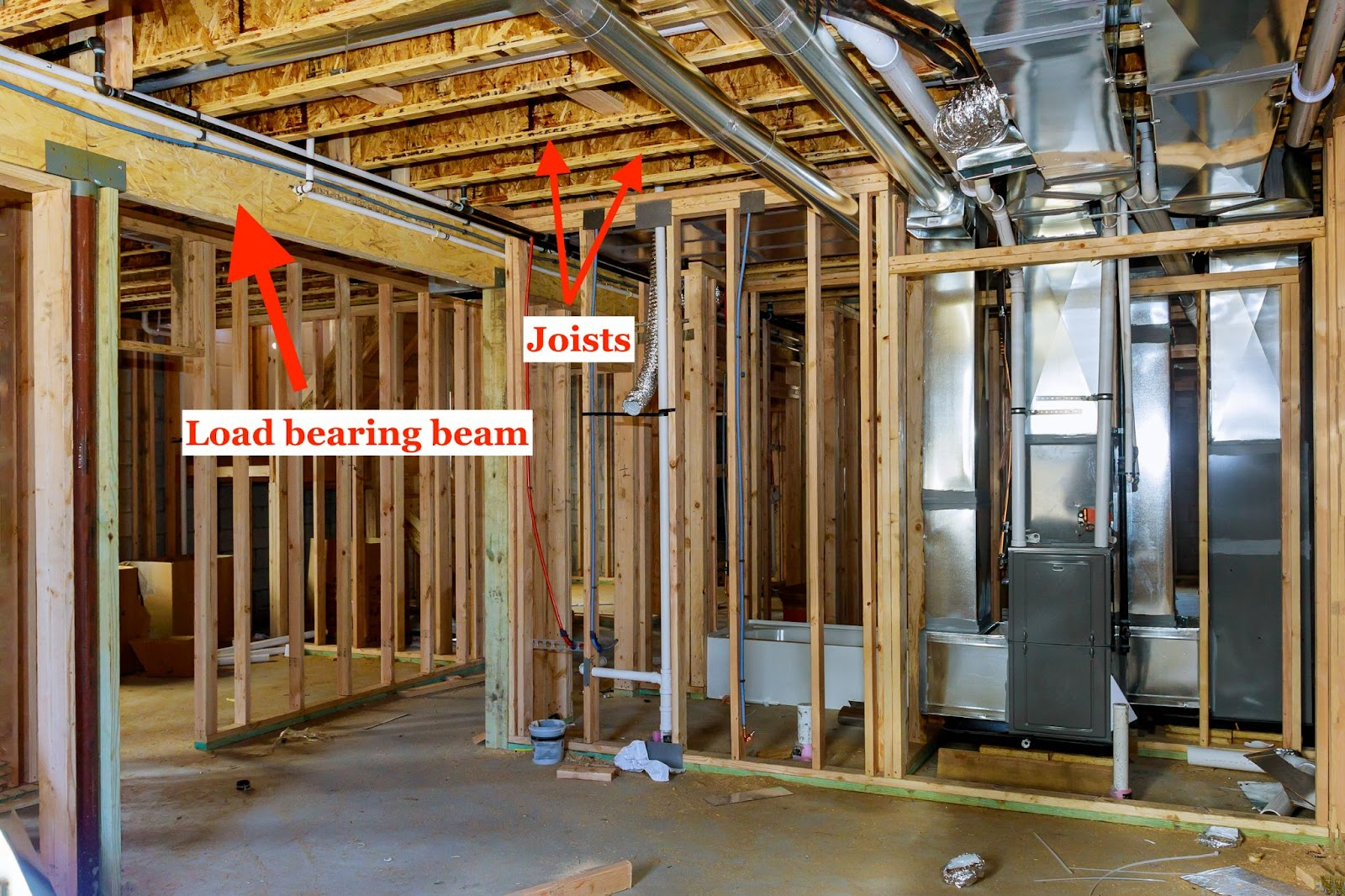 Beam strategically placed by engineer to carry the weight of the floors and walls above